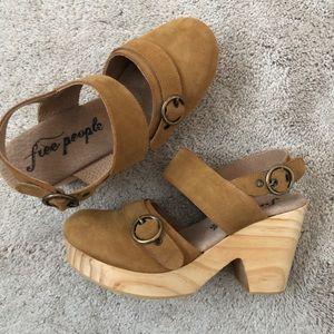 Free people clogs shoes cognac brown